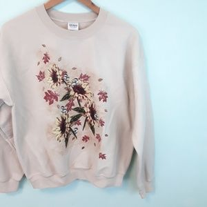 Sunflowers Fall Tan Crewneck Pullover Sweatshirt